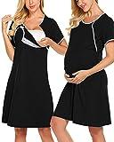 SUNNYME Camisones de lactancia para mujer 3 en 1 de parto de parto de hospital, camisones suaves