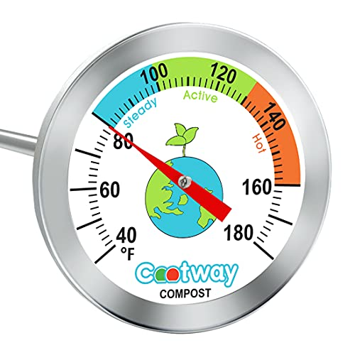 Cootway Compost Thermometer, 16 Inch Stem Backyard Compost Thermometer, Waterproof Soil Temperature Thermometer for Compost, Stainless Steel, with Composting Temperature Guide, 40-180 Degrees F