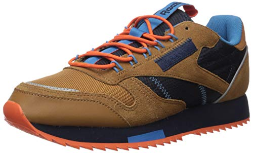 Reebok Men's Classic Leather Sneaker, Brown/Navy/Cyan, 8.5 M US