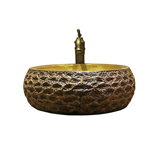 Keramische Basin Art Sink wastafel opzetkom wastafel Stone Basin Europese Antique Basin Round (49x16cm)