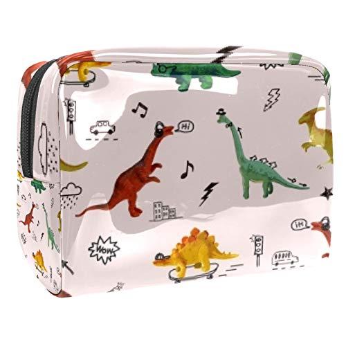 Bolsa de maquillaje portátil con cremallera bolsa de aseo de viaje para las mujeres práctico almacenamiento cosmético bolsa DJ dinosaurio