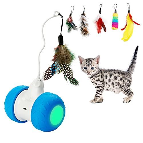 Toozey Interaktives Elektronisches Katzenspielzeug, Automatisches Selbstdrehendes Intelligentes Katzenspielzeug, USB-wiederaufladbar, mit Buntem Federspielzeug