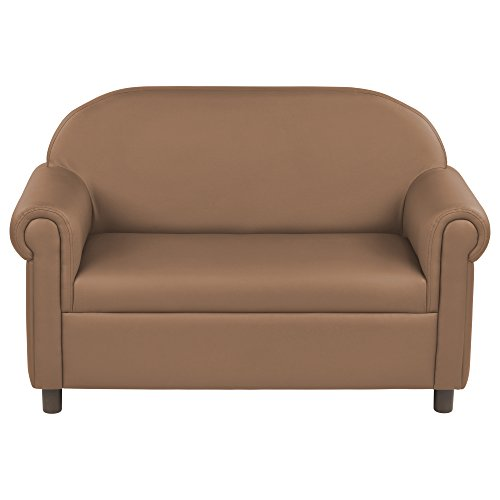 ECR4Kids SoftZone Little Lux Upholstered Youth Sofa for Kids Room, Chocolate