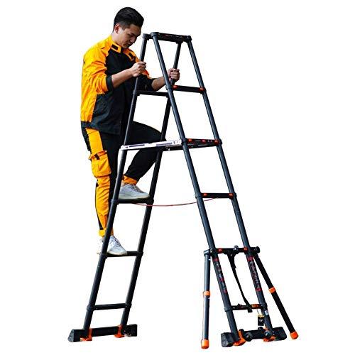 Asan Black Telescopic Extension Ladder A Frame, Heavy Duty Folding Telescopic Ladder in Alluminio con Barra stabilizzatrice e Ruote, carico 150kg (Dimensioni: 3,9 m   12,8 Piedi)