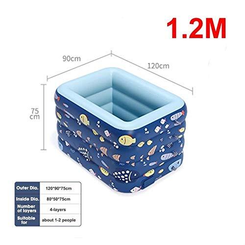 Pool 1,2 M / 1,4 M / 1,8 M / 2,1 M Aufblasbarer Pool Kinder Erwachsene Baby Hausgarten 4-Lagiger Quadratischer Planschbecken Badewanne Außen Innen, Blau (1,2 M)