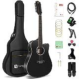 Vangoa 12 Cordes Guitare Électro Acoustique 41 pouces Dreadnought Douze Cordes de Guitare Kits avec EQ 4 bandes, Noir
