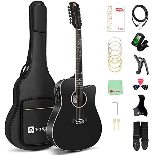 Vangoa Electroacústicas Guitarra de 12 Cuerdas 41 pulgadas con Ecualizador de 4 bandas Dreadnought Doce-cuerdas Guitarra, Negro