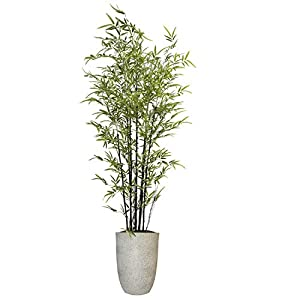 Vintage Home Artificial Bamboo Tree 80″ High Green Emerald Artificial Faux Bamboo Tree with White Fiberstone Planter for Home Decor