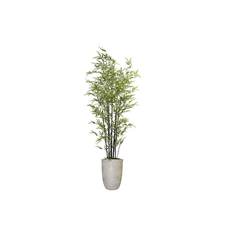 """silk flower arrangements vintage home artificial bamboo tree 80"""" high green emerald artificial faux bamboo tree with white fiberstone planter for home decor"""