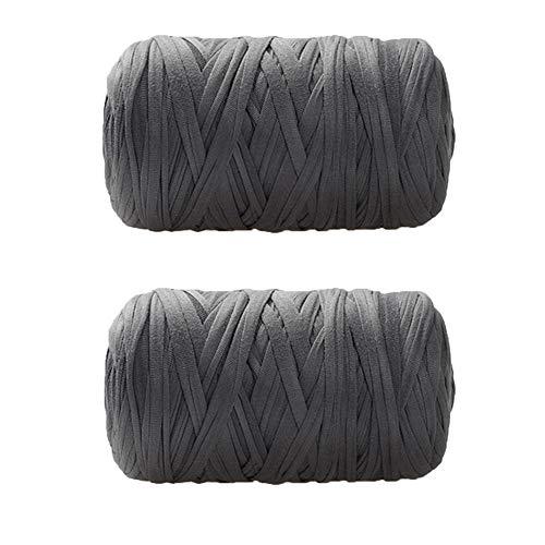 400g T-Shirt Yarn Crocheting Ribbon Yarn Recycled Yarn Zpagetti Yarn DIY Knit Basket Crochet Bag Materials Elastic Strong Cloth T Shirt Yarn Gray