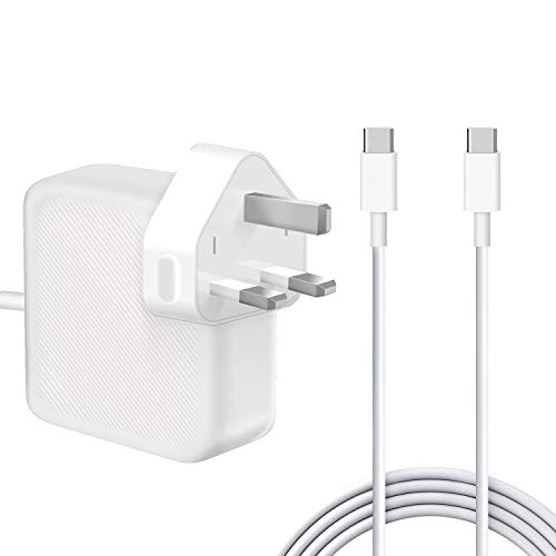 61W USB-C Power Adapter, Compatible with Mac book Pro 11''&13 Inch 2016 2017 2018 2019 and Smartphones&Tablets with USB C and Type C Ports, with 2M C-USB-C Charger cables.