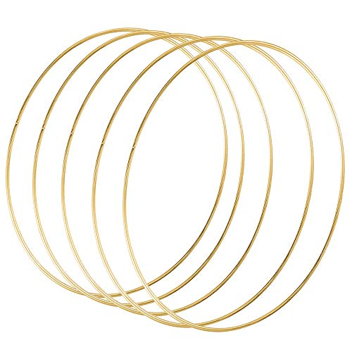 Sntieecr 5 Pack 19 inch/ 50 cm Large Metal Floral Hoop Wreath Macrame Gold Craft Hoop Rings for DIY Christmas Wreath Decor, Dream Catcher and Wall Hanging Craft