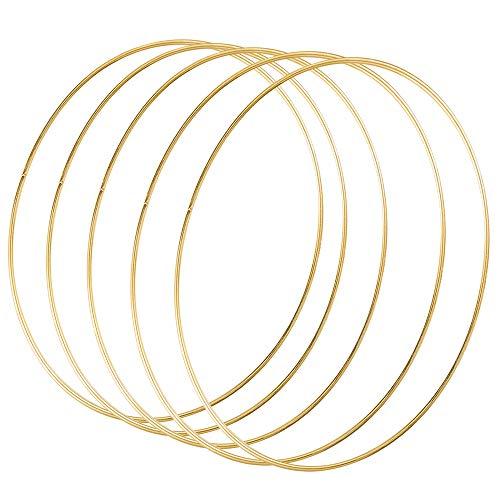 Sntieecr 5 Stück 50cm Gold Metallring Floral Hoops Ringe Kranz Makramee Ringe für Floral Hoop Kranz Hochzeit Dekor, Traumfänger und DIY Handwerk