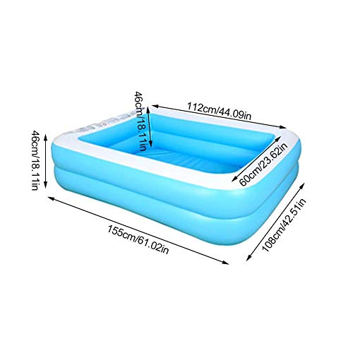 N/H Piscina Rectangular sobre El Suelo, Piscina Inflable para Niños Piscina Rectangular Al Aire Libre para Adultos Y Familias Bañeras De Baño Plegables Y Duraderas