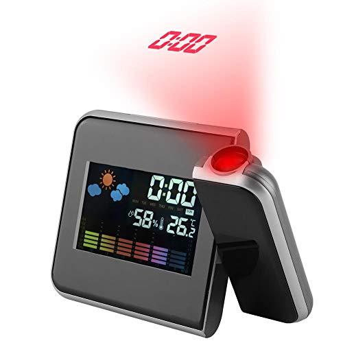 天気プロジェクター、デジタルLED天気予報プロジェクターカレンダー湿度表示目覚まし時計(ブラック)