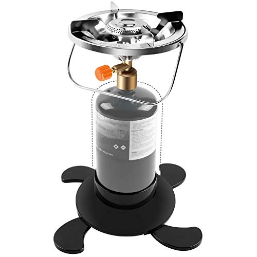Odoland Propane Camping Stove with Fuel Can Stabilizer, Portable Bottle Top Gas Stove with Adjustable Burner, Perfect for Backpacking, Camping, Fishing and Outdoor Cooking