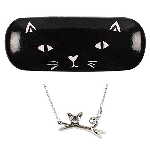 Zwart-witte kat vinyl brillen kleine zonnebril etui + zilverkleurig