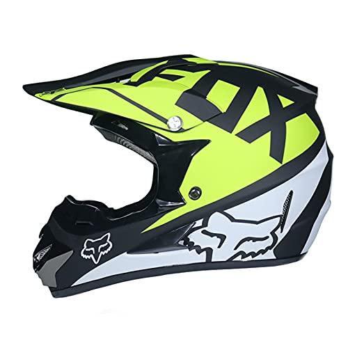 IDWX Casco Todoterreno, Casco PequeñO Todoterreno De Motocicleta, Casco Integral Ligero De MontañA De Carreras, con Parabrisas/Guantes/Protector Facial, Blanco Y Verde