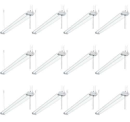 Hyperikon 4 Foot LED Linkable Shop Light, 40W=100W, Double Tube, Shop and Garage Lighting, Clear Cover, ETL, Crystal White, 12 Pack