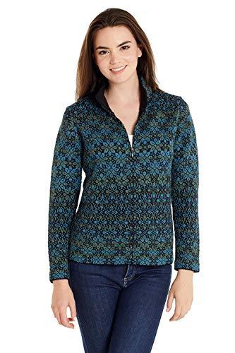 Invisible World Women's 100% Alpaca Wool Sweater Zip Up High Neck Cardigan XL