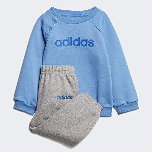 adidas Baby Linear Jogger Trainingsanzug, Real Medium Grey Heather/Blue, 80 (M)