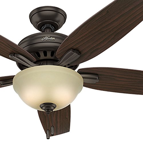 Hunter Fan 52in Premier Bronze Ceiling Fan with Frosted Amber Glass Light Kit, 5 Blade (Renewed)