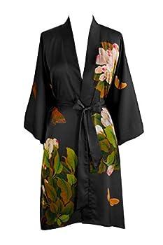 KIM+ONO Charmeuse Kimono Robe Short - Peony & Butterfly - Black