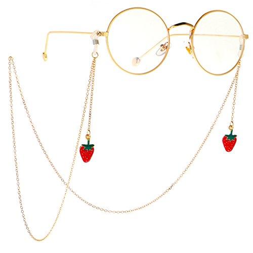 joyMerit Retenedor de Gafas-Gafas de Metal Gafas Gafas Gafas de Sol Soporte de Cadena Collar Correa Cordón - Fresa roja, como se Describe