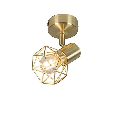 QAZQA - Modern Art Deco Wand Spot | Spotlight | Deckenspot | Deckenstrahler | Strahler | Lampe | Leuchte Gold | Messing drehbar und neigbar - Mosh 1 | Wohnzimmer | Schlafzimmer | Küche - Metall Rund -