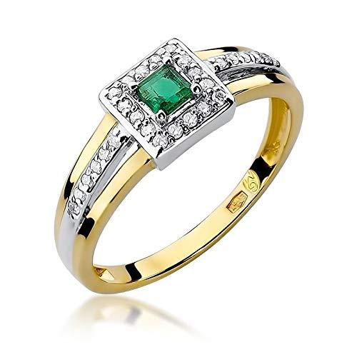 Anillo para mujer de oro amarillo 585 de 14 quilates, esmeralda auténtica y diamantes de imitación