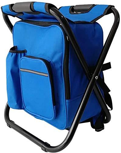 ZJ Tragbarer Camping-Rucksackstuhl, Multifunktionsfaltfischen-Rucksack mit Hocker, Leichter, wasserdichter Rucksack im Freien, verwendet für Camping/Grill/Picknick/Reisen/Jagd (Color : Blue)