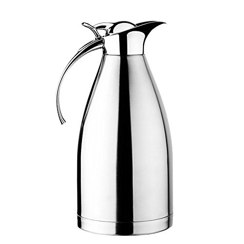 Hiware 68 OZ Stainless Steel Thermal Coffee Carafe - Double Walled Vacuum Insulated Carafe with Press Button Top - Quality Thermal Beverage Dispenser
