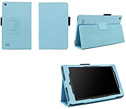 Case for Kindle Fire 7 (5th and 7th Generation) Tablet - Folio Case with Stand for Kindle Fire 7 Inch Tablet - Light Blue