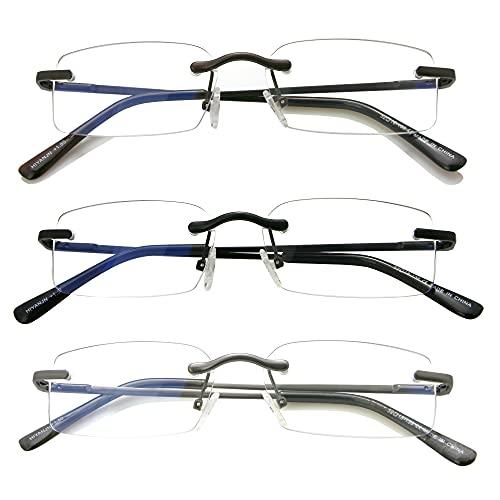 HIYANJN Frameless Reading Glasses Blue Light Blocking Rimless Computer Reader Lightweight Anti Glare Filter Eyeglasses(3-Pack,1.50)