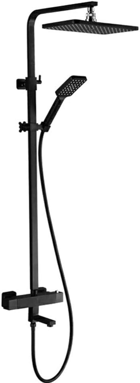 MPYThermostat Stabmixer, Kupfer schwarz hei und kalt Dusche Set, Handbrause