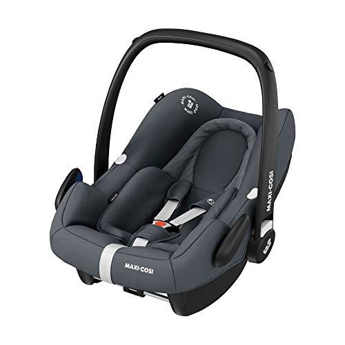Maxi-Cosi Rock Babyschale, sicherer Gruppe 0+ i-Size Baby-Kindersitz (0-13 kg), nutzbar ab der Geburt bis ca. 12 Monate, passend für FamilyFix One Basisstation, essential graphite