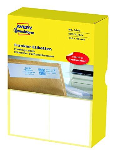 AVERY Zweckform 3442 Frankier-Etiketten (Papier matt, 500 Etiketten, 138 x 48 mm) 1 Pack weiß