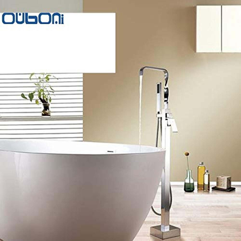 OUBONI New Floor Standing Badewanne Einhand-Armaturen Freistehende Badewanne Brausebatterie Set Badewanne Wasserhahn mit Handbrause