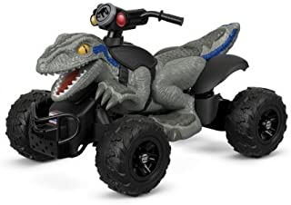 Young Riders Can Race Over Hard Surfaces,Grass and Other Rough Terrain With Power Wheels Jurassic World Dino Racer,With Parent-Controlled,High-Speed Lock Out and Power-Lock brake,Gray/Black
