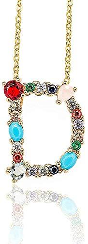 Aluyouqi Co.,ltd Collar con Colgante de Inicial Dorada, Collar con Letra de circonio, Nombre de Personalidad, joyería, Regalo de joyería para Mujer y Novia