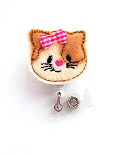 Cora The Cat - Retractable ID Badge Reel - Name Badge Holder - Cute Badge Reel - Nurse Badge Holder - Nursing Badge Clip - Teacher Badge