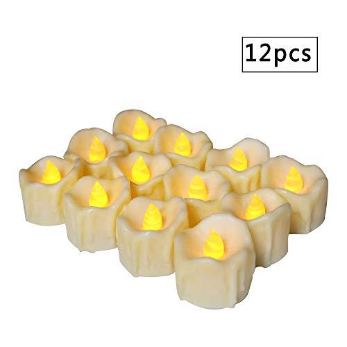 wangZJ Wax Tearing Teelicht/Retro Simulation Elektronische Kerze/Weihnachten Halloween Kerze/Weiß