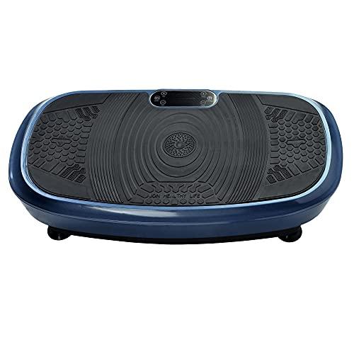 Vibrationsplatte Einmaliges Design 3D Wipp Vibration Technologie Bluetooth Musik Riesige Fläche 2 Kraftvolle Motoren Trainingsbänder Fernbedienung Blau