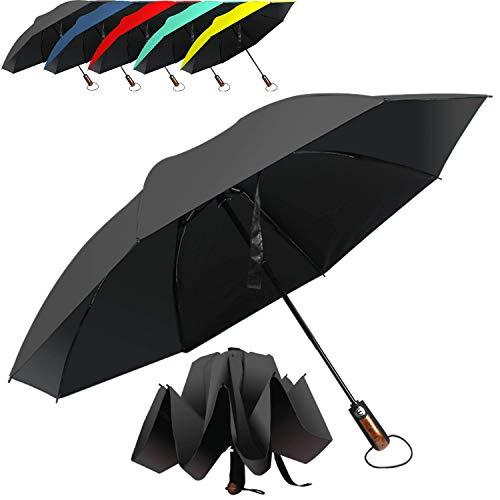 HAILSTORM Folding Reverse Umbrella with UV and UPF50+ Protection - Inverted Windproof Umbrellas with Lightweight Fiberglass Frame - Black