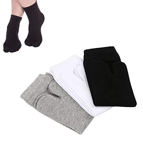 SUNTRADE 3 Paar Japan Tabi Socken Split 2 Toe Sandalen Ninja Slipper Japan Kimono Baumwolle (Schwarz+Weiß+Grau)