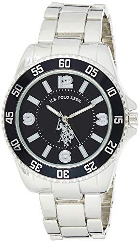 U.S. Polo Assn. Relógio masculino prateado com mostrador preto, metal de quartzo automático/liga, relógio dobrável com fecho - USC80515