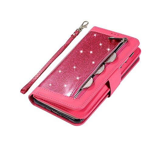Saceebe Compatible avec Samsung Galaxy A51 Coque Bling Paillette Strass Glitter Cuir Étui Wallet Housse 9 Porte-Cartes Portefeuille de Protection Coque Fermeture Magnétique Pochette,Rouge