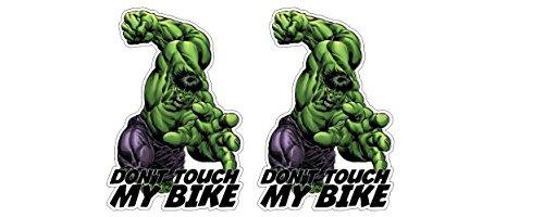 Grünes Monster Hulk Don't Touch My Bike Motorrad nicht berühren Nur schauen Hau Ab Aufkleber Sticker / Plus Schlüsselringanhänger aus Kokosnuss-Schale / Tuning Racing (2 Aufkleber 13.4x20cm)