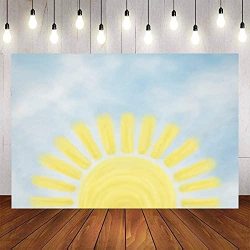 Fondo de fotografía Dibujos Animados Sol Fiesta de cumpleaños Baby Shower telón de Fondo fotófono photocall Estudio fotográfico A1 10x10ft / 3x3m