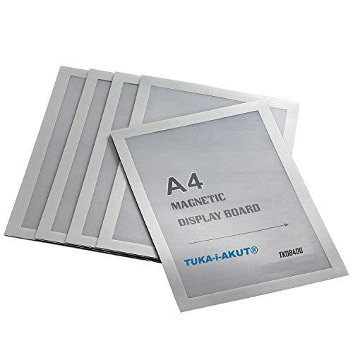 TUKA-i-AKUT 5st. A4 Info-Rahmen Selbstklebend mit Magnetverschluss, Einstecktasche Infotasche Blatthalter, Schnelles Wechseln von Aushängen, Aufklappbarer Magnetrahmen Farbe Silber, TKD8400-A4-5x
